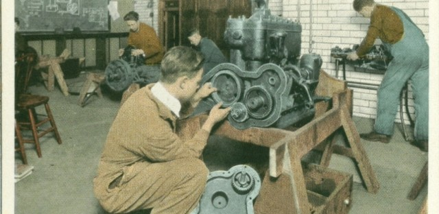 New Deal programs of the 1940s brought more vocational programs to public education, like this automobile shop class at Albert Grannis Lane Manual Training High School, now named Lane Technical College Prep High School in Chicago's North Center Neighborhood.