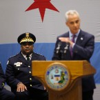 Chicago police superintendent Eddie Johnson, left, listens to mayor Rahm Emanuel