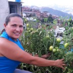Mileidis Bolivar shows off the tomatoes she grows in her rooftop garden in a Caracas, Venezuela, slum.