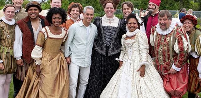 City of Chicago Mayor Rahm Emanuel with the cast of The Taming of the Shrew at the Garfield Park Conservatory.