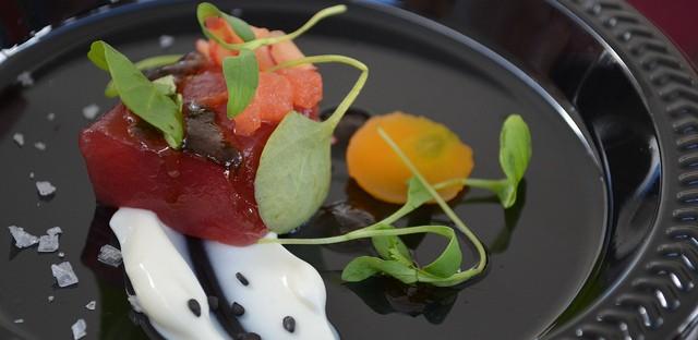 Jared Wentworth, Longman and Eagle: tuna crudo, compressed watermelon, smoked yogurt, black garlic vinaigrette