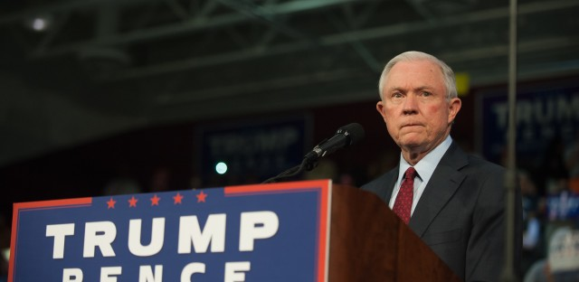 Alabama Sen. Jeff Sessions pledges his support for then-Republican presidential candidate Donald Trump before speaking to supporters on Oct. 10 at a rally in Ambridge, Pa.