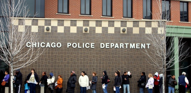 Residents of Chicago's Bridgeport neighborhood lined up for early voting this past Saturday.