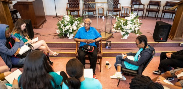 "Students met with Timuel Black at Roberts Temple, the site of the 1955 funeral of 14-year-old Emmett Till. ""Seeing the body confirmed what some of us knew, and the anger which we carried with us,"" Black told the high school students with a Chicago Architecture Center program."