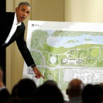 Former President Barack Obama speaks at a community event on the Obama Presidential Center at the South Shore Cultural Center in Chicago on May 3, 2017.