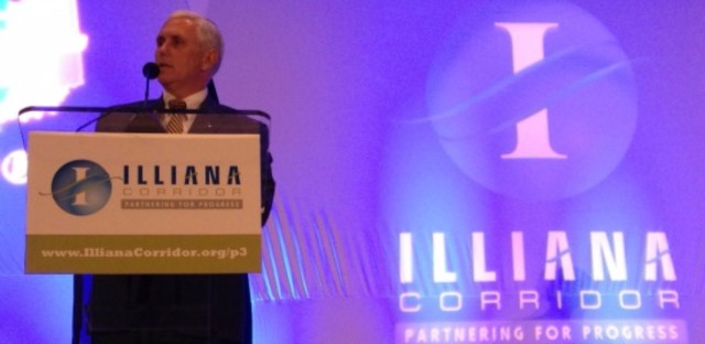 Indiana Gov. Mike Pence at a recent forum touting the Illiana Tollway.