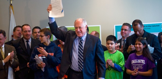 Gov. Pat Quinn signed the executive order in the William W. Powers Visitor Center, a new building in the Calumet area's Millennium Reserve.