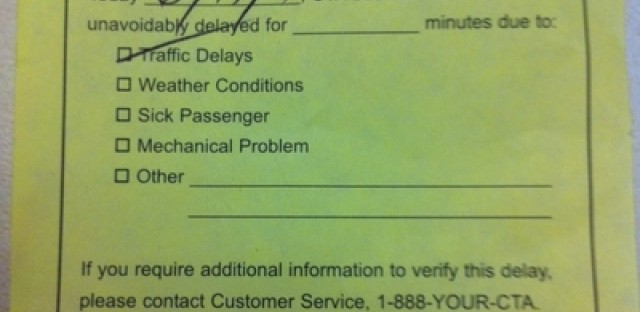 A late slip from the CTA; why this day above all others?
