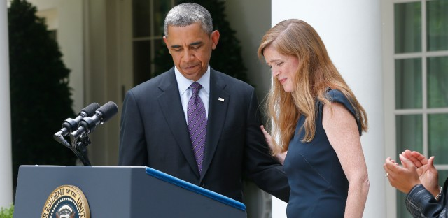 Samantha Power, then a nominee to be the Obama administration's United Nations Ambassador, finishes speaking in the Rose Garden at the White House in Washington, Wednesday, June 5, 2013.