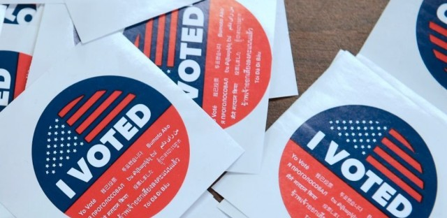 """California's multilanguage """"I Voted"""" stickers on offer for early voters at the Los Angeles County Registrar's Office in Norwalk, Calif. Frederic J. Brown/AFP/Getty Images"""