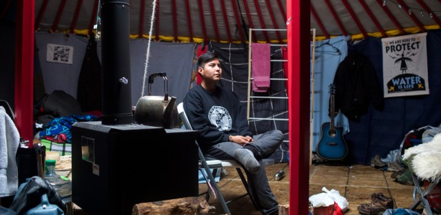 Alexander Howland, 21, traveled to Standing Rock from Dulce, N.M., on the Jicarilla Apache Reservation.