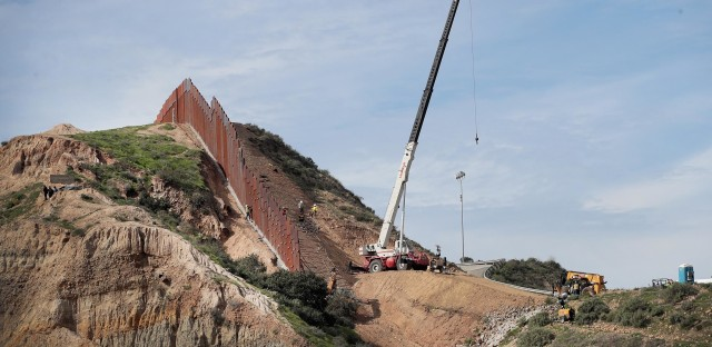 A section of border wall is constructed on the U.S. side of the border on Jan. 28 in Tijuana, Mexico. Congress and President Trump continue to spar over how much additional border security funding will be allotted.