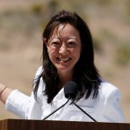 "Then-Assistant Secretary of the Interior Rhea Suh helps Michelle Obama promote the ""Let's Move Outside"" program at Red Rock Canyon National Conservation Area outside Las Vegas Tuesday, June 1, 2010 in Red Rock Canyon."