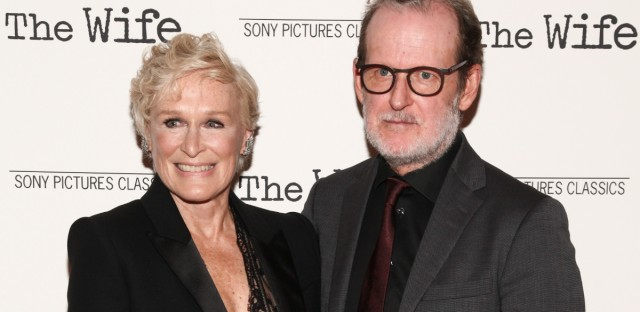 """Glenn Close, left, and Bjorn Runge, right, attend a special screening of Sony Pictures Classics' """"The Wife"""" at the Paley Center on Thursday, July 26, 2018, in New York."""