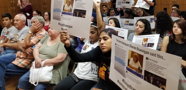 For a full year, anti-racism protesters have packed Palos Township meetings to demand the resignation of trustee Sharon Brannigan.