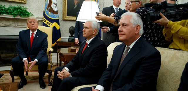 "President Donald Trump, joined by Vice President Mike Pence and Secretary of State Rex Tillerson, listens to a question during a meeting with Finnish President Sauli Niinisto in the Oval Office on Monday. Tillerson, when asked Sunday whether Trump's response to violence in Charlottesville, Va., represented American values, said that ""the president speaks for himself."""