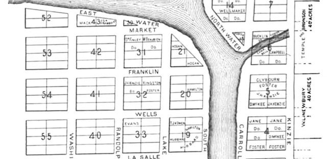 James Thompson's plat map of Chicago, 1830.