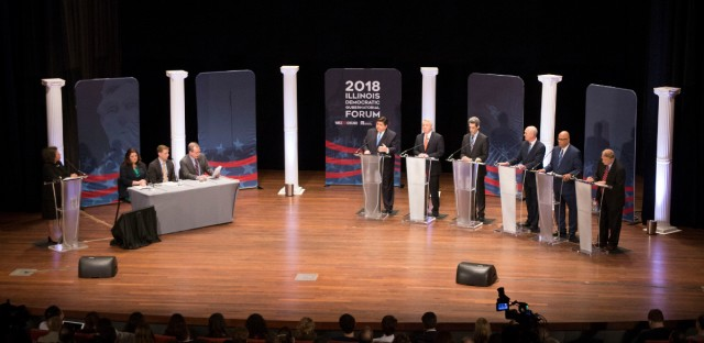 The Democratic candidates for governor met on stage at the University of Chicago's Institute of Politics for a forum Thursday. The forum was moderated by WBEZ Chicago's Melba Lara with a panel of three reporters: WBEZ Chicago's Dave McKinney and Tony Arnold, and POLITICO's Natasha Korecki.