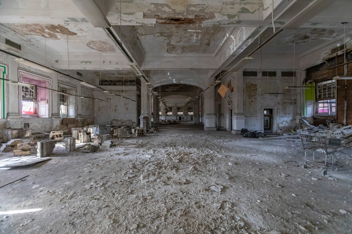 The interiror of the Stockyard Bank building is filled with crushed terra cotta