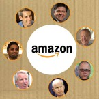 Seven candidates for Illinois governor under the Amazon logo