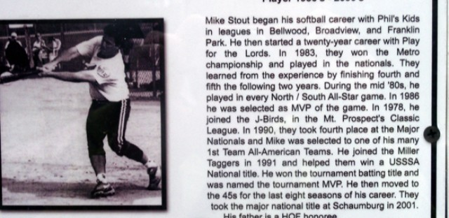 Cheryl Raye-Stout's brother in law Mike's Hall of Fame plaque.