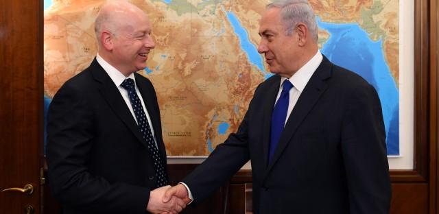 Israel's Prime Minister Benjamin Netanyahu meets President Trump's Middle East envoy Jason Greenblatt in Jerusalem on June 21.