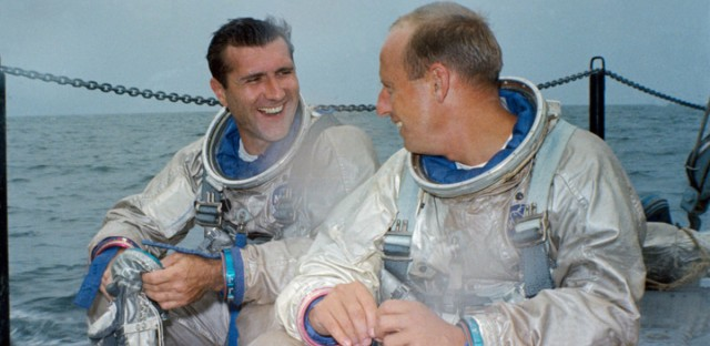 In 1966, astronauts Dick Gordon (left) and Pete Conrad trained for Gemini 11 in the Gulf of Mexico aboard the NASA Motor Vessel Retriever.