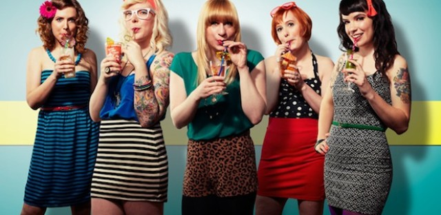 Left to right: Nicole, Nikita, Caitlin, Sara and Kristin of the Chicago band Summer Girlfriends