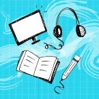 Illustration of a book, a pencil, a TV screen and headphones