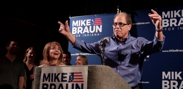 Republican Senate candidate Mike Braun thanks supporters after winning the republican primary in Whitestown, Ind., Tuesday, May 8, 2018.