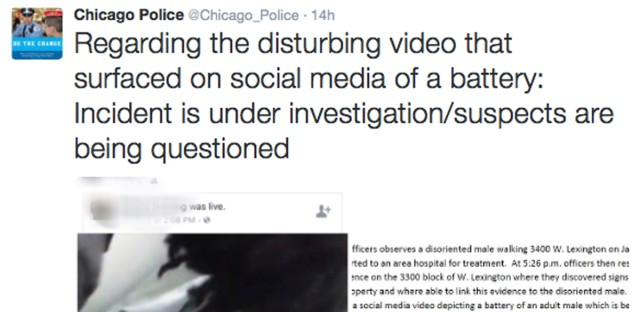 """This image posted on the Chicago Police Department's Twitter page shows a frame from a video that was broadcast live on Facebook in which a man is assaulted. The video shows the man with his mouth taped shut as a woman and other people cut off his shirt and hair with a knife, and someone pushes his head with his or her foot. Chicago Police Superintendent Eddie Johnson said Wednesday that the victim has mental health challenges, and he called the video """"sickening."""""""