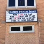 A marquee outside of Harding Primary School in Monmouth, IL. urges state lawmakers to pass a budget.