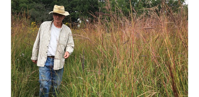 Stephen Packard plants seeds and burns brush to help restore endangered prairie ecosystems at Somme Prairie Grove.