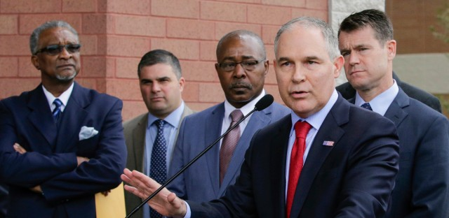 Environmental Protection Agency Administrator Scott Pruitt speaks at a news conference Wednesday, April 19, 2017, in East Chicago, Ind., following a tour of a public-housing complex where roughly 1,000 people were ordered evacuated because of lead contamination.