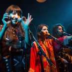 Israeli sisters (from left) Liron, Tair and Tagel Haim, who make up the band A-WA, perform in Jerusalem.