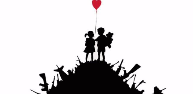 """""""Kids on Guns"""" by Banksy."""
