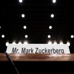 The witness table is seen before Facebook CEO Mark Zuckerberg's appearance at a joint hearing of the Senate Commerce, Science and Transportation Committee and Senate Judiciary Committee on Capitol Hill on Tuesday.