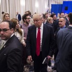 Reporter Michelle Fields resigned from Breitbart last night; she's seen here to the left of Donald Trump, at the campaign event that sparked an assault allegation last Tuesday. The Washington Post/Getty Images