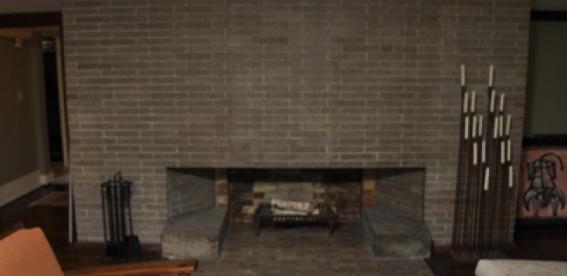 The fireplace in the living room is the center of the home.