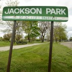 A Chicago Park District sign stands in Jackson Park on May 12, 2015.