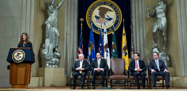 Associate Attorney General Rachel Brand speaks during the opening of the summit on Efforts to Combat Human Trafficking at Department of Justice in Washington, Friday, Feb. 2, 2018. With her from left, Attorney General Jeff Sessions, Deputy Attorney General Rod Rosenstein, Acting AAG Criminal John Cronan and Acting AAG Civil Rights John Gore.