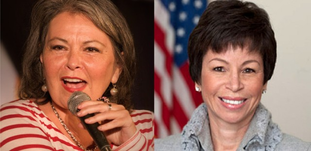 "TV Star Roseanne Barr (left) invoked ""Planet of the Apes"" and the Muslim Brotherhood when describing former Obama Adviser Valerie Jarrett (right) on Twitter."