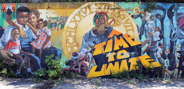"""""""A Time to Unite"""" is a mural at 41st and Drexel."""