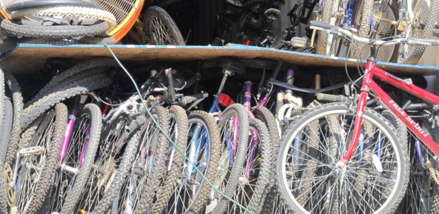 Working Bikes gets ready to ship a load of bicycles to Malawi.
