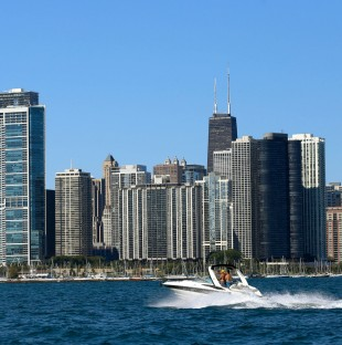 A boat sails on Lake Michigan Tuesday, Sept. 20, 2016, in Chicago.