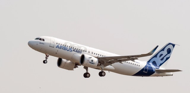"The new Airbus A320neo takes off for its first test flight at Toulouse-Blagnac airport, southwestern France, Thursday, Sept. 25, 2014. Airbus sent its new A320neo jet up for its first flight Thursday amid growing demand for the single-aisle plane, a more fuel-efficient version of Airbus popular A320 mid-range jets. The A320neo or ""new engine option"" incorporates an engine that uses less fuel and sharklet wing tips that also help deliver fuel savings. (AP Photo/Frederic Lancelot)"