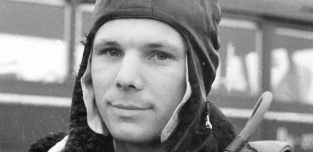 A portrait of Soviet Yuri Gagarin, the first man to orbit the earth in space, shown training in a hand out photo released in April 1961.