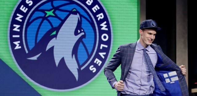 Lauri Markkanen reacts after being selected by the Minnesota Timberwolves as the seventh pick overall during the NBA basketball draft, Thursday, June 22, 2017, in New York.