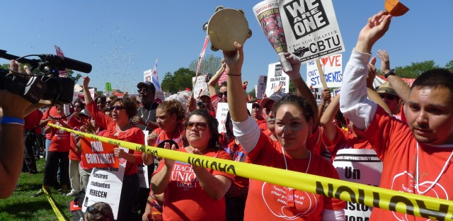 Striking Chicago school teachers are loud and proud at a major rally Saturday afternoon at Union Park on Chicago's West Side.
