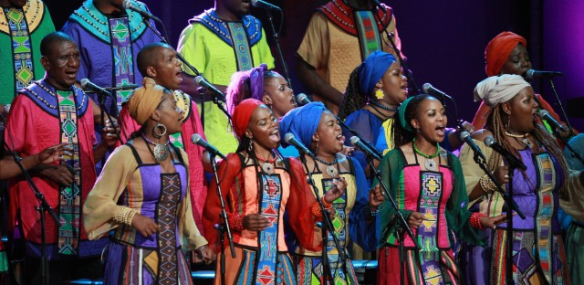The Soweto Gospel Choir performs at the 'Mandela Day' Concert to celebrate Nelson Mandela's 91st birthday at Radio City Music Hall in New York, Saturday, July 18, 2009.
